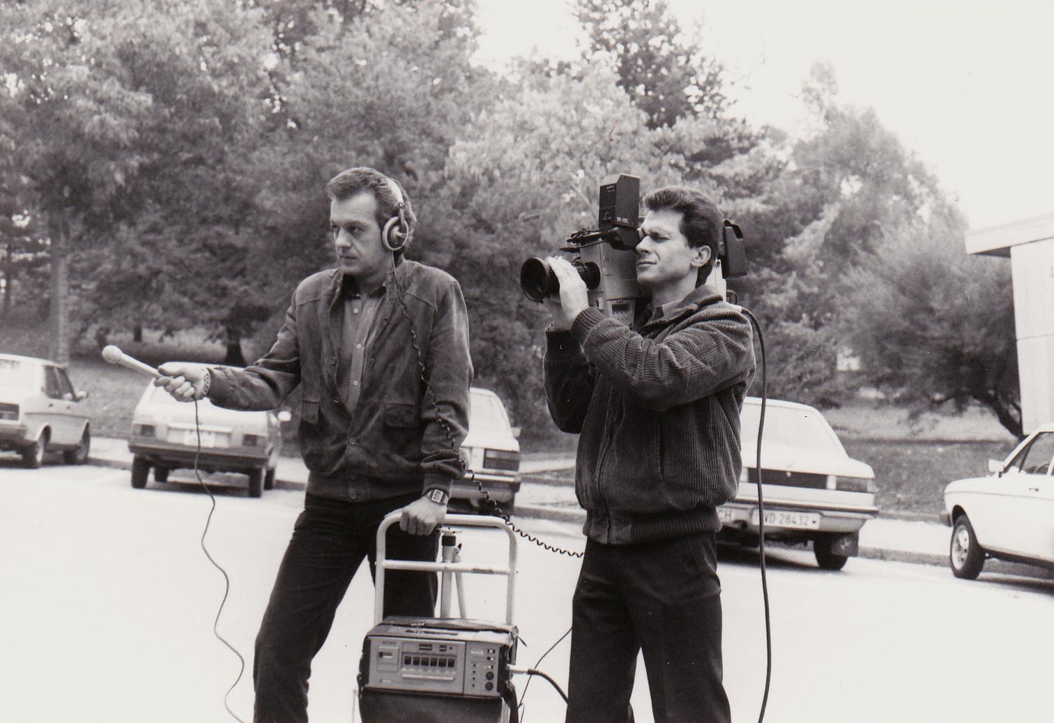 L'équipe de reportage Videovox en 1985.